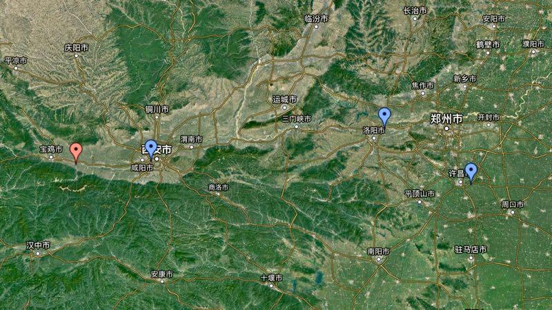 左から五丈原、長安城、洛陽城、許昌城